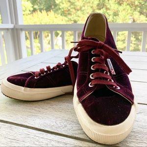 Superga Shoes - SUPERGA Bordeaux Velvet Low Top Sneaker